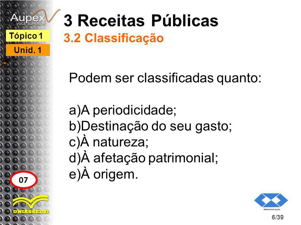 3 Receitas Públicas 3.2 Classificação