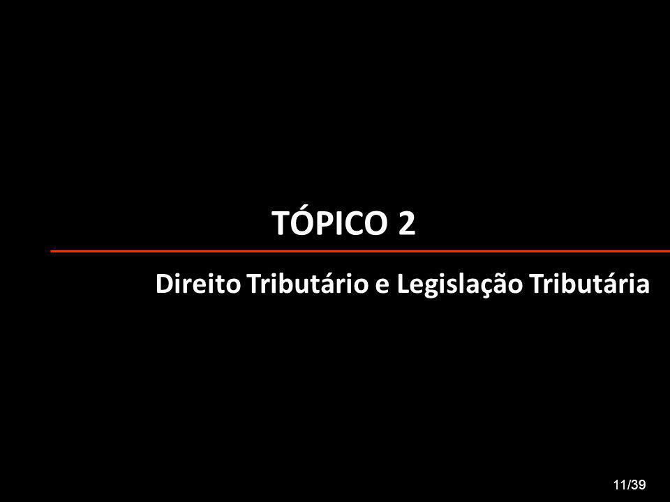 TÓPICO 2 Direito Tributário e Legislação Tributária 11/39