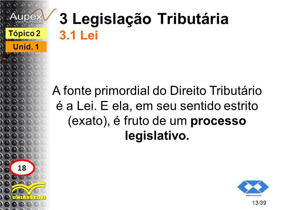 3 Legislação Tributária 3.1 Lei