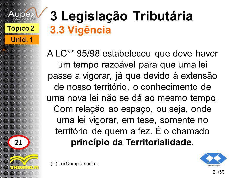 3 Legislação Tributária 3.3 Vigência