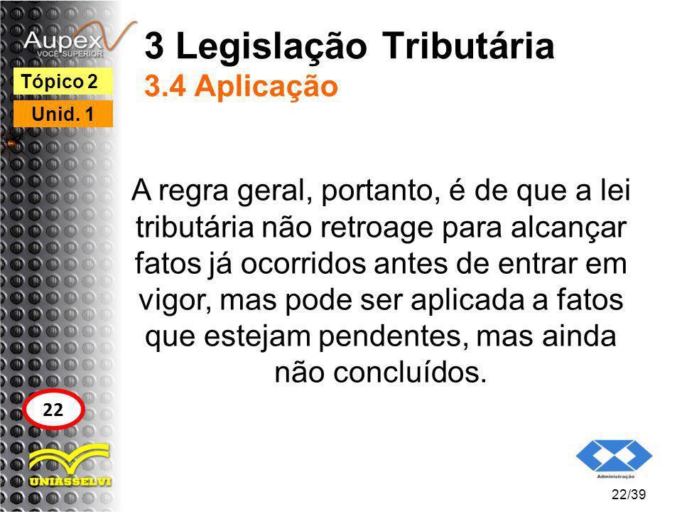 3 Legislação Tributária 3.4 Aplicação