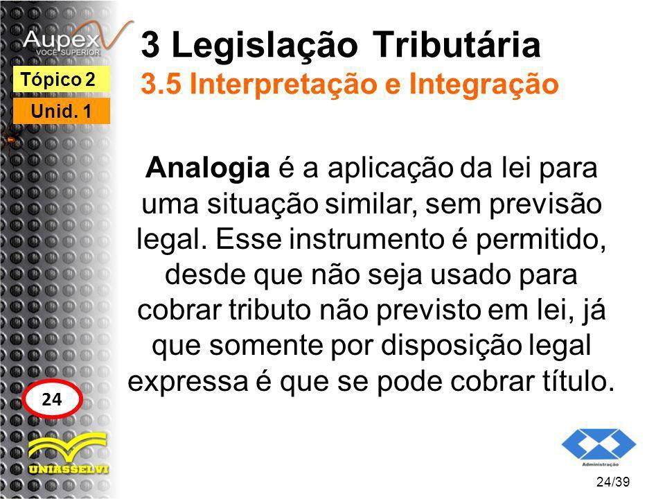 3 Legislação Tributária 3.5 Interpretação e Integração