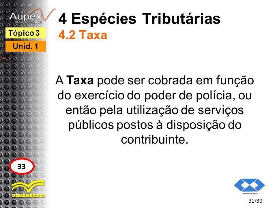 4 Espécies Tributárias 4.2 Taxa