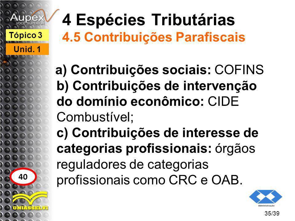 4 Espécies Tributárias 4.5 Contribuições Parafiscais