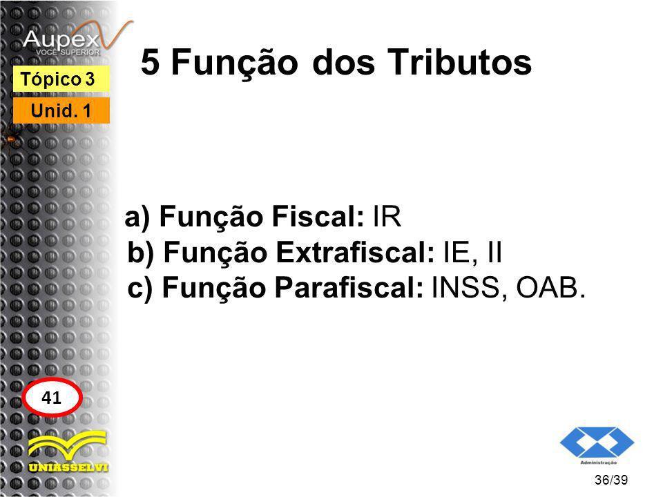 5 Função dos Tributos Tópico 3. Unid. 1. a) Função Fiscal: IR b) Função Extrafiscal: IE, II c) Função Parafiscal: INSS, OAB.