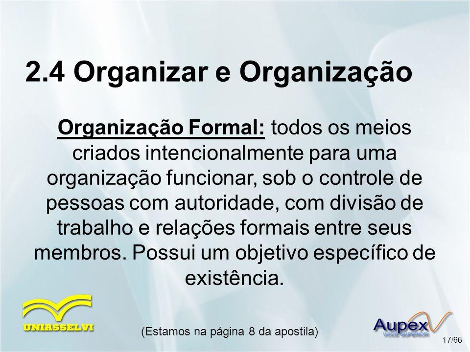 2.4 Organizar e Organização