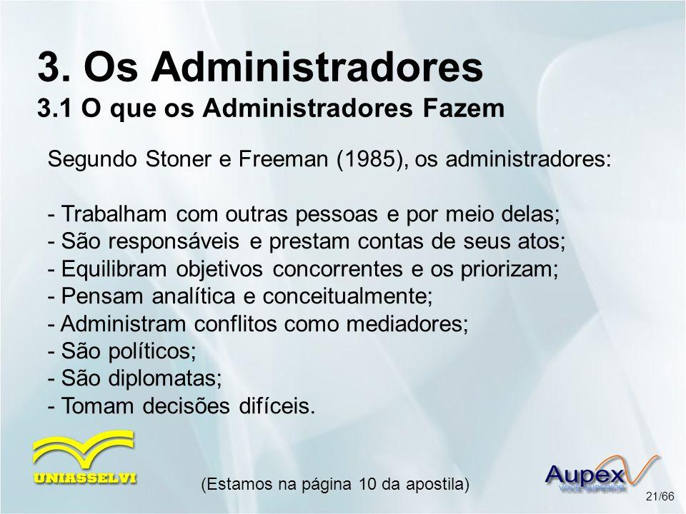 3. Os Administradores 3.1 O que os Administradores Fazem