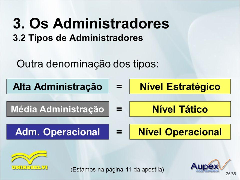 3. Os Administradores 3.2 Tipos de Administradores
