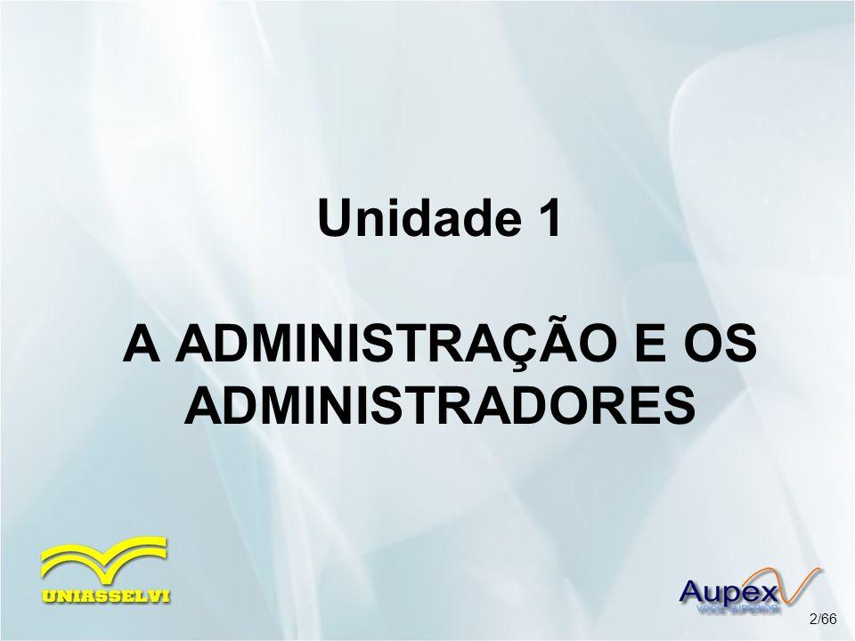 Unidade 1 A ADMINISTRAÇÃO E OS ADMINISTRADORES