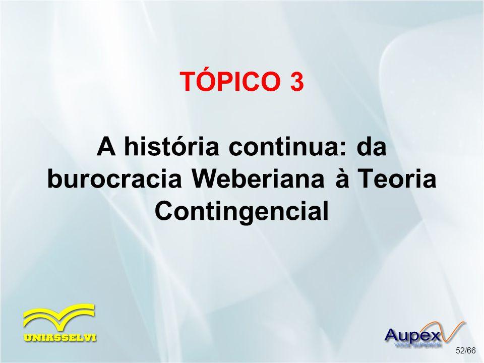 TÓPICO 3 A história continua: da burocracia Weberiana à Teoria Contingencial
