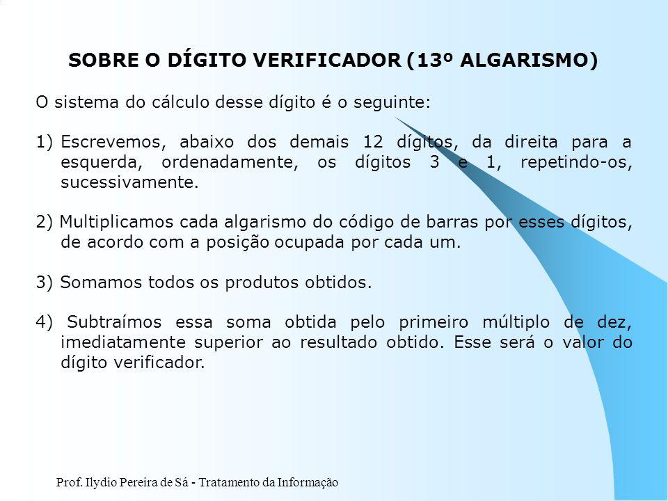 SOBRE O DÍGITO VERIFICADOR (13º ALGARISMO)