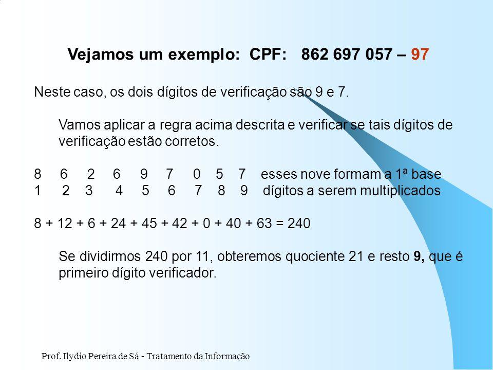 Vejamos um exemplo: CPF: 862 697 057 – 97
