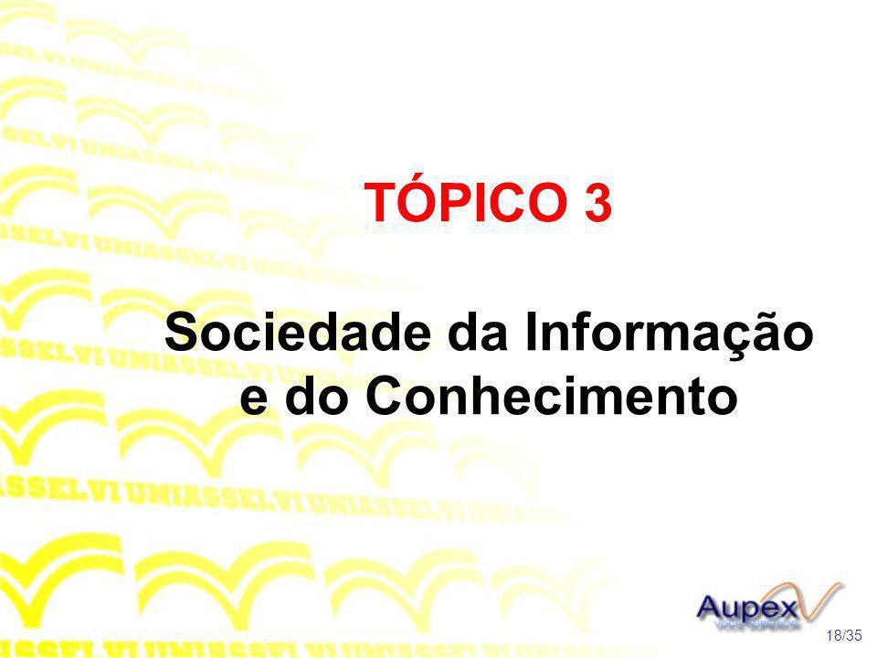 TÓPICO 3 Sociedade da Informação e do Conhecimento