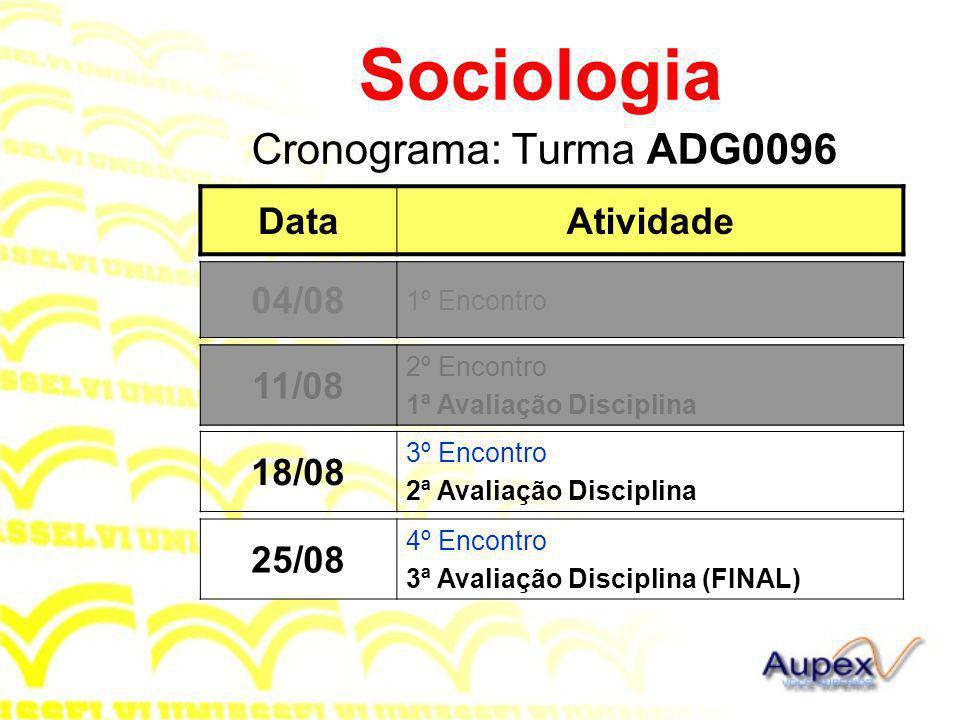 Sociologia Cronograma: Turma ADG0096 Data Atividade 04/08 04/08 11/08