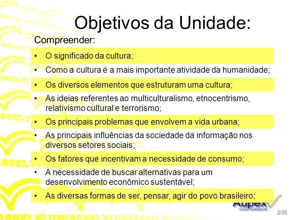 Objetivos da Unidade: Compreender: O significado da cultura;