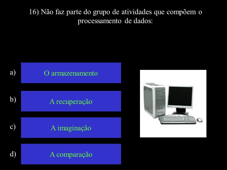 16) Não faz parte do grupo de atividades que compõem o processamento de dados: