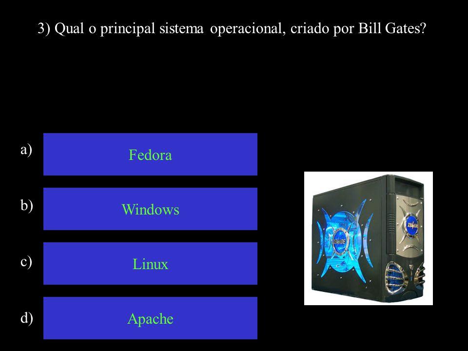 3) Qual o principal sistema operacional, criado por Bill Gates