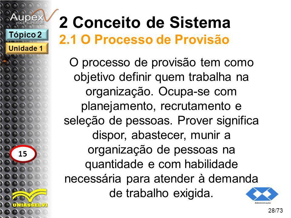 2 Conceito de Sistema 2.1 O Processo de Provisão