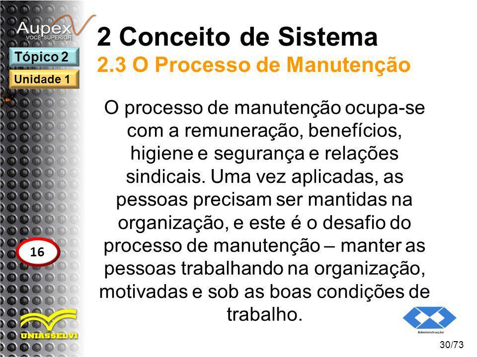 2 Conceito de Sistema 2.3 O Processo de Manutenção