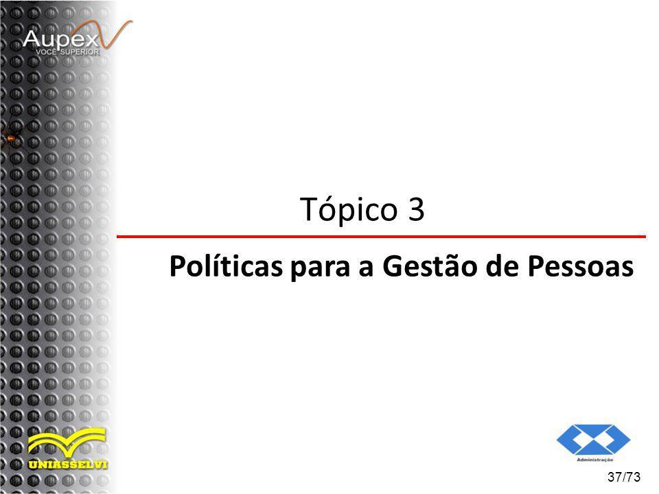 Tópico 3 Políticas para a Gestão de Pessoas 37/73