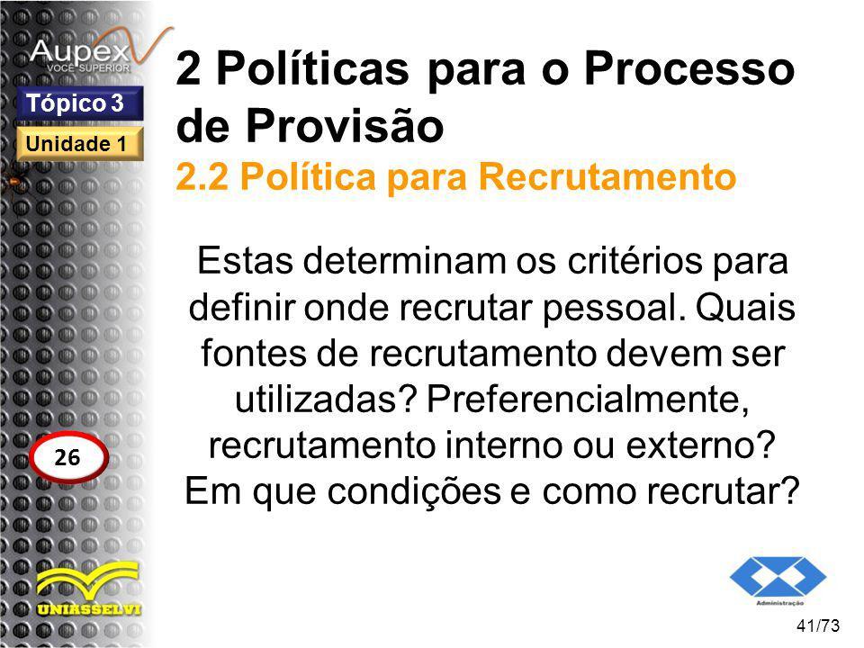 2 Políticas para o Processo de Provisão 2.2 Política para Recrutamento