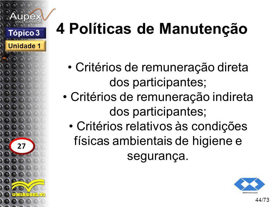 4 Políticas de Manutenção