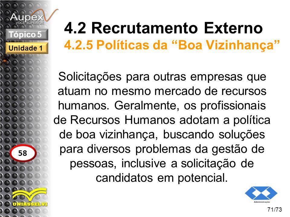 4.2 Recrutamento Externo 4.2.5 Políticas da Boa Vizinhança