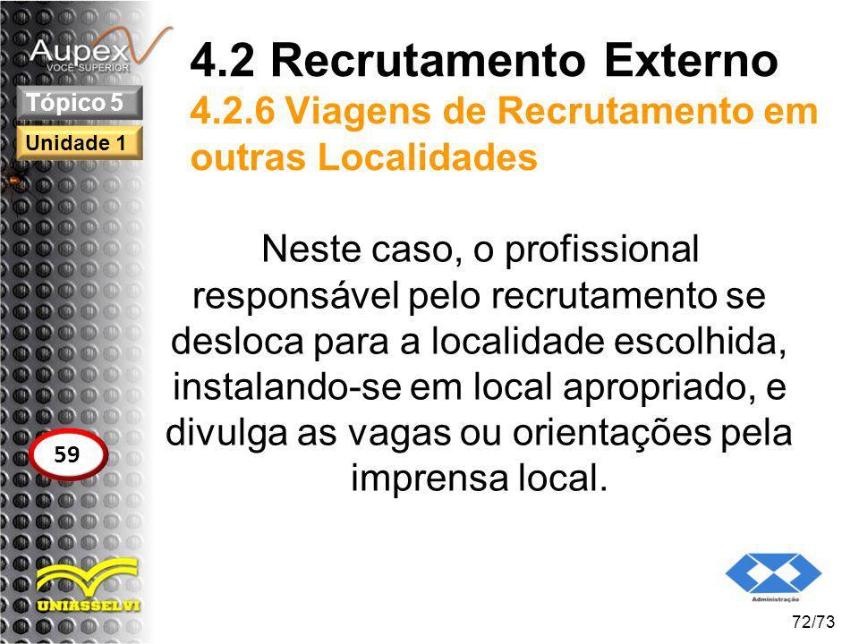 4.2 Recrutamento Externo 4.2.6 Viagens de Recrutamento em outras Localidades