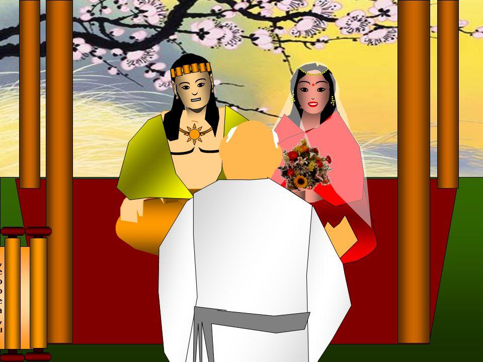 Quando tinha dezesseis anos, o jovem príncipe, embora desejasse tornar-se um asceta, concordou em se casar.