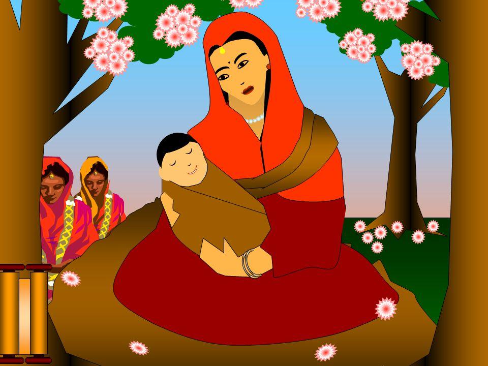 Atendendo à tradição, a Rainha voltou à casa paterna, para dar à luz, ficando a meio caminho, no Jardim Lumbini para repousar, num alegre e bonito dia de primavera.
