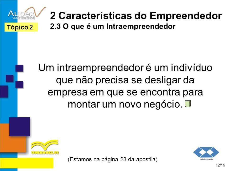 2 Características do Empreendedor 2.3 O que é um Intraempreendedor