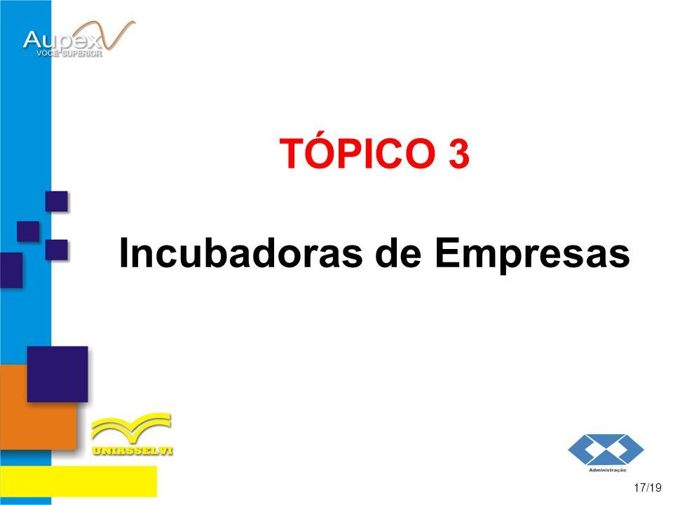 TÓPICO 3 Incubadoras de Empresas