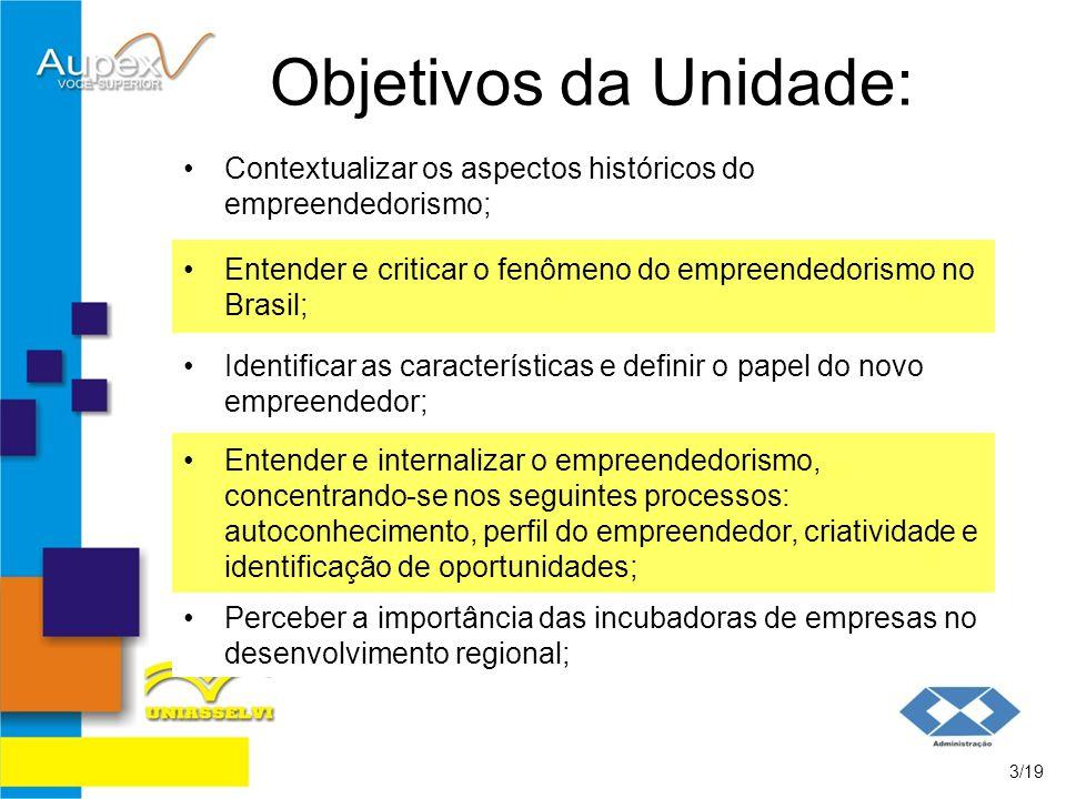 Objetivos da Unidade: Contextualizar os aspectos históricos do empreendedorismo; Entender e criticar o fenômeno do empreendedorismo no Brasil;