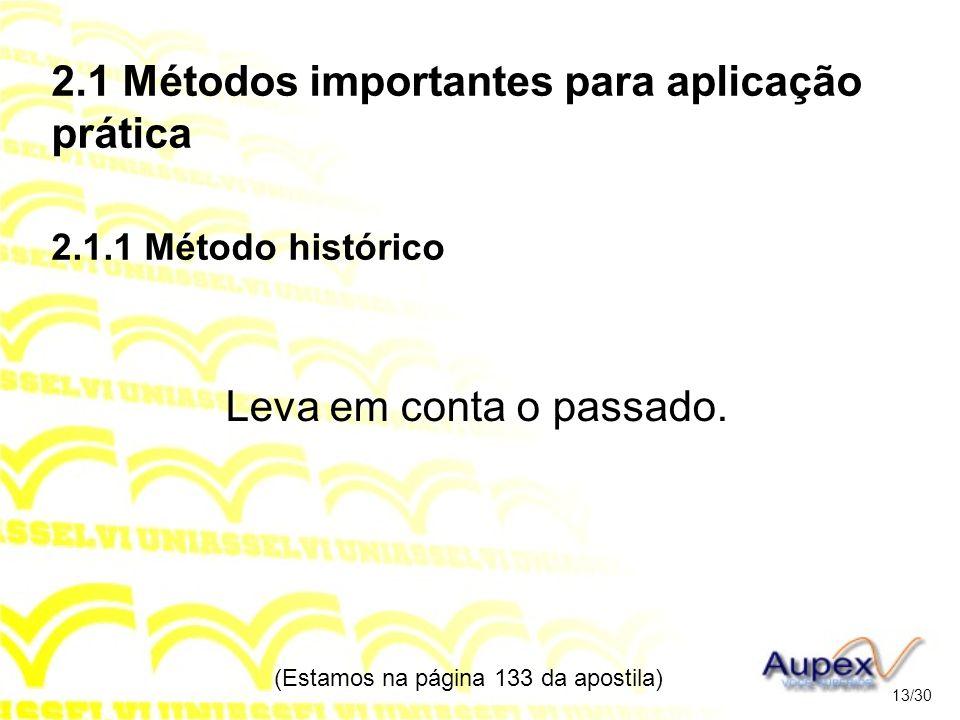 2.1 Métodos importantes para aplicação prática 2.1.1 Método histórico