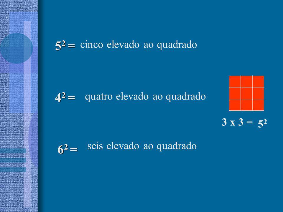 52 = 42 = 62 = cinco elevado ao quadrado quatro elevado ao quadrado