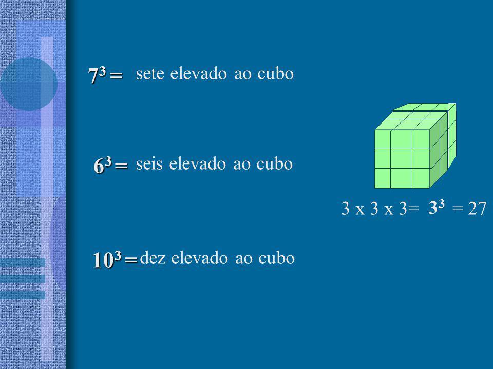 73 = 63 = 103 = sete elevado ao cubo seis elevado ao cubo