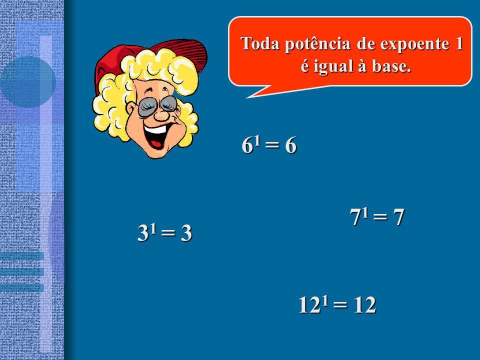 61 = 6 71 = 7 31 = 3 121 = 12 Toda potência de expoente 1