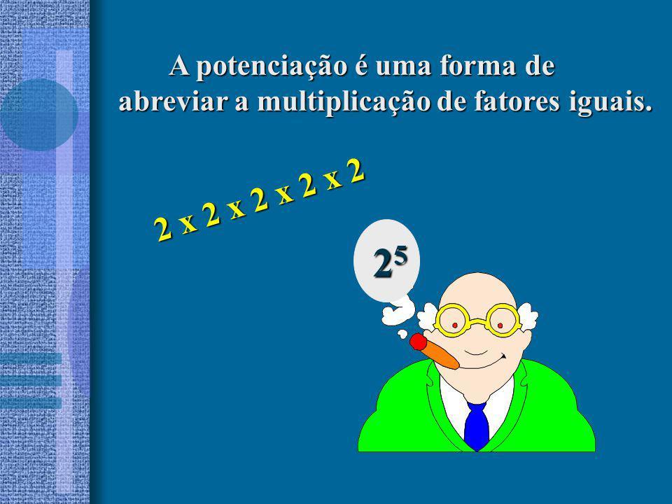 25 2 x 2 x 2 x 2 x 2 A potenciação é uma forma de