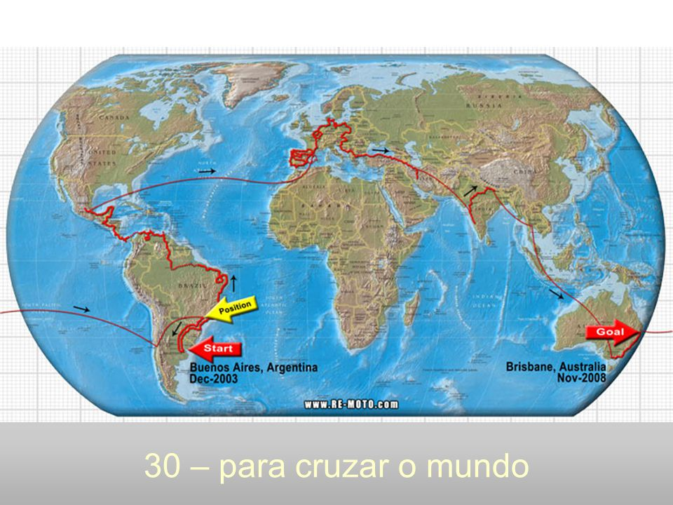 30 – para cruzar o mundo