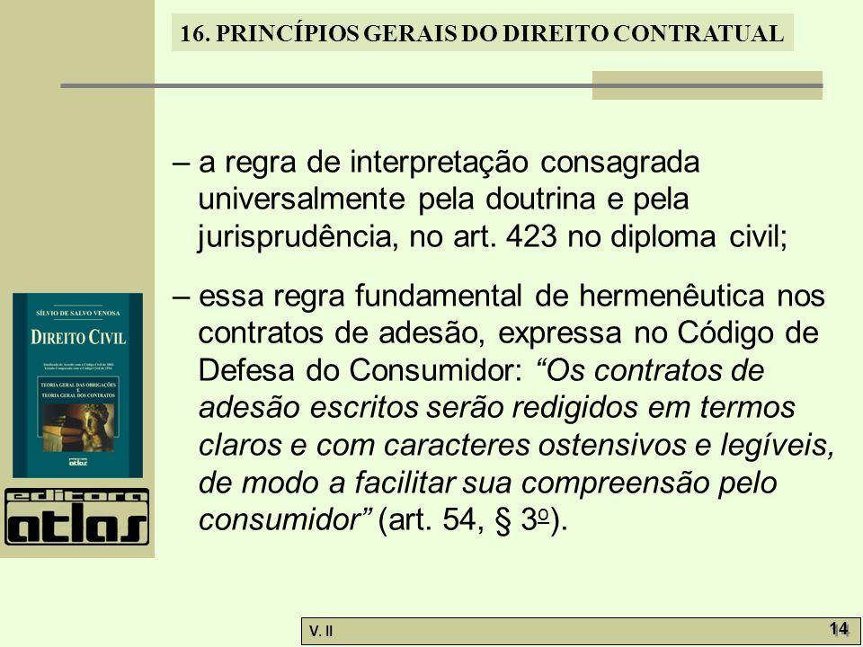 – a regra de interpretação consagrada universalmente pela doutrina e pela jurisprudência, no art. 423 no diploma civil;