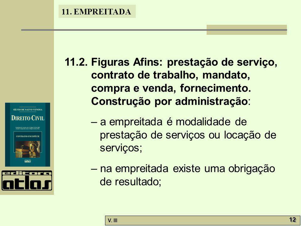 11.2. Figuras Afins: prestação de serviço, contrato de trabalho, mandato, compra e venda, fornecimento. Construção por administração: