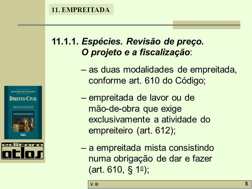 11.1.1. Espécies. Revisão de preço.