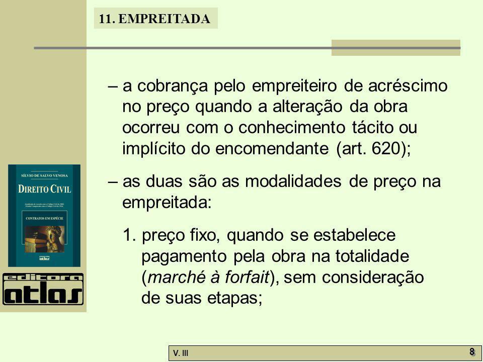 – a cobrança pelo empreiteiro de acréscimo no preço quando a alteração da obra ocorreu com o conhecimento tácito ou implícito do encomendante (art. 620);