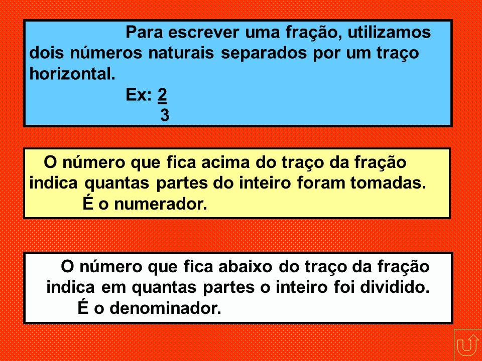 Para escrever uma fração, utilizamos dois números naturais separados por um traço horizontal. Ex: 2 3
