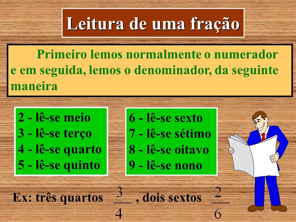 Leitura de uma fração Primeiro lemos normalmente o numerador
