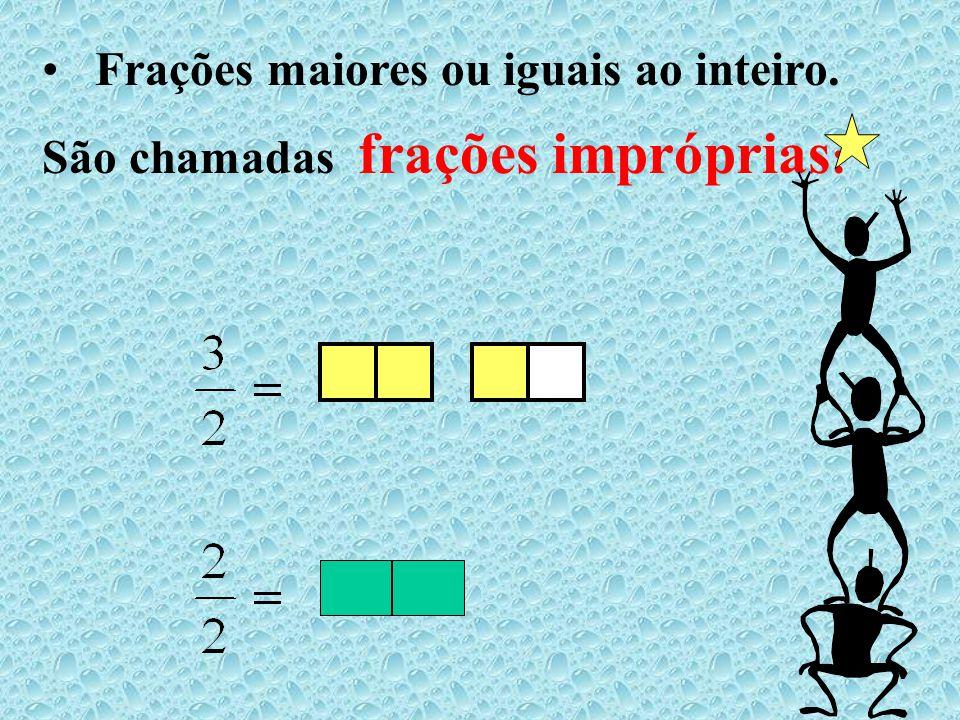 Frações maiores ou iguais ao inteiro. São chamadas frações impróprias: