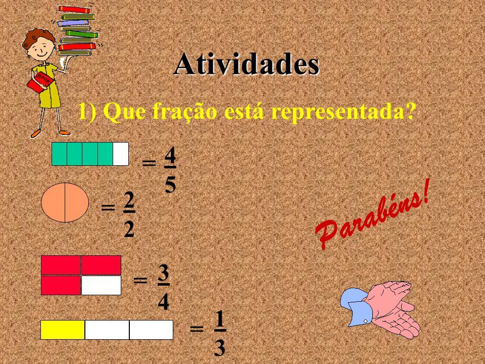 Parabéns! Atividades 1) Que fração está representada 4 = 5 2 = 3 = 4