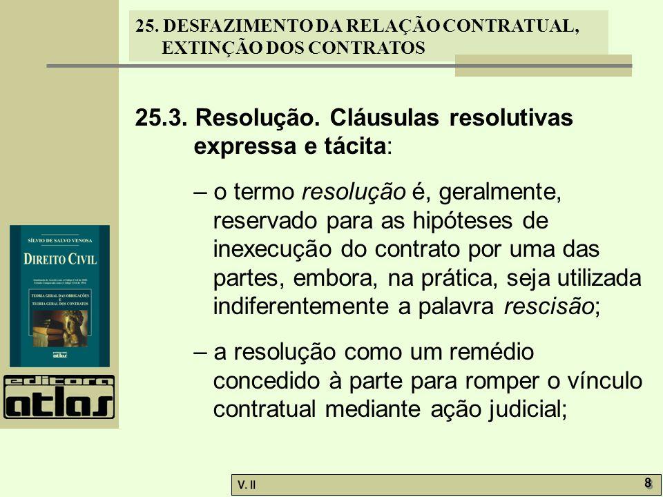 25.3. Resolução. Cláusulas resolutivas expressa e tácita: