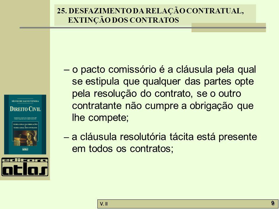 – o pacto comissório é a cláusula pela qual se estipula que qualquer das partes opte pela resolução do contrato, se o outro contratante não cumpre a obrigação que lhe compete;
