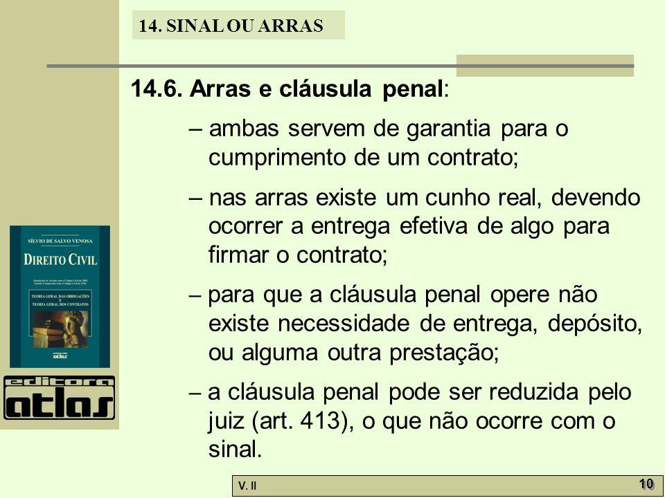 14.6. Arras e cláusula penal: